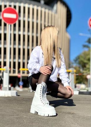 Белые высокие ботинки кожа