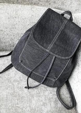 Тканевый женский рюкзак мешок на шнурках.