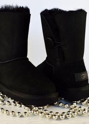 Угги женские ugg bailey button black  australia угги черные короткие с пуговицей