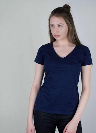 Женская футболка v-образный вырез белая  fruit of the loom