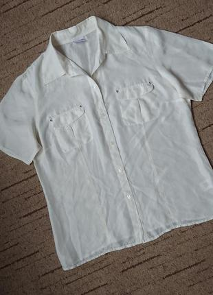 Шелковая рубашка/блуза biaggini #100%шелк# тонкая, молочная