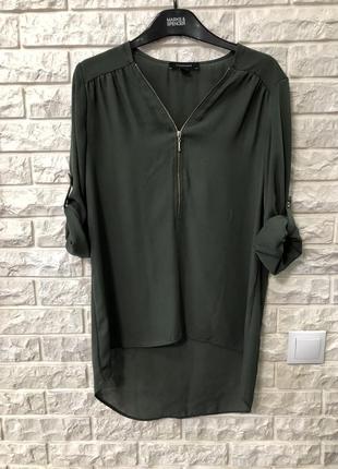 Блуза, рубашка оверсайз, хаки, свободного кроя zara
