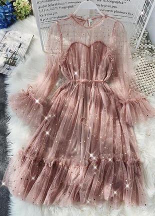 😍мерцающее гипюровое платье с поясом вечернее