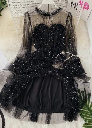 ❤топове мерцающее гипюровое платье черное с поясом