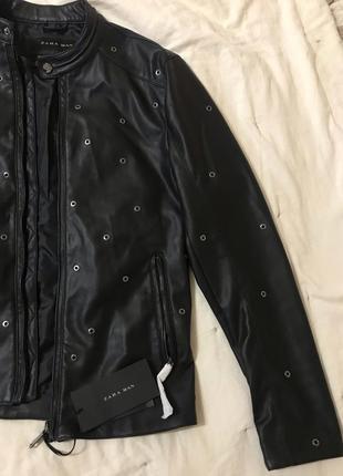 Новая мужская кожаная куртка zara , кожанка