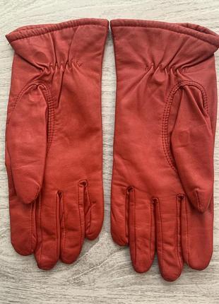 Перчатки красные натуральная кожа genuine leather vintage