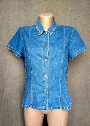 Винтаж, джинсовая рубашка laura ashley