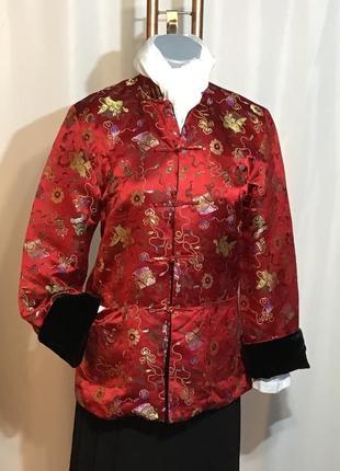 Винтаж, жакет шелковый ручной работы, пиджак в китайском стиле двустороний, 100% шелк