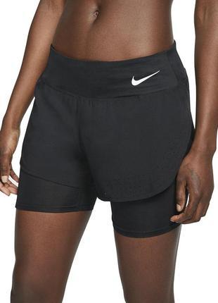 Спортивні жіночі шорти nike eclipse running 2в1 розмір l dri fit
