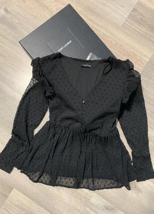 Шикарная шифоновая блузка в чёрном цвете размер s