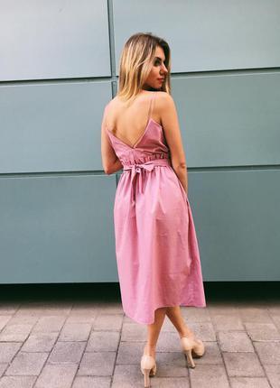 Очень красивое платье длина миди на бретельках с рюшами! хб котон розовое100