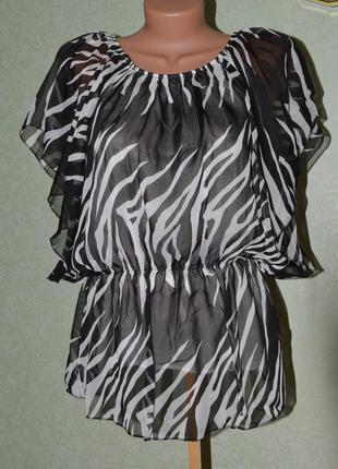 Блуза туника шифон летучья мышь красивый принт. супер на лето!