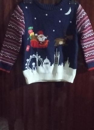 Красивый рождественский новогодний свитер george англия