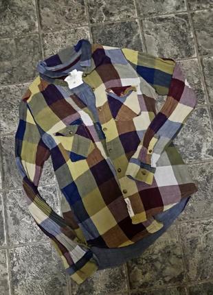 Рубашка в клетку фирмы h&m logg 100% хлопок