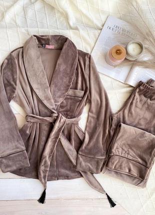 Велюровый коричневый костюм для дома, пижама, пиджак со штанами, піжама, плюшевый комплект