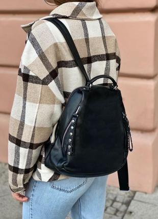 Женский кожаный городской стильный рюкзак жіночий шкіряний ранець рюкзачок чёрный чорний