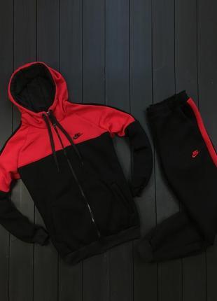 Спортивный костюм nike осень-зима, утепленный теплый на флисе