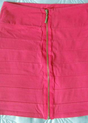 🌸 розовая юбка с молнией спереди 🌸