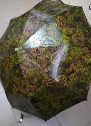 Зонт ткань масло флора с цветами 10 спиц полуавтомат сложения