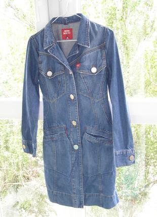 Miss sixty пальто плащ джинс с потертостями италия s-m-размер. оригинал