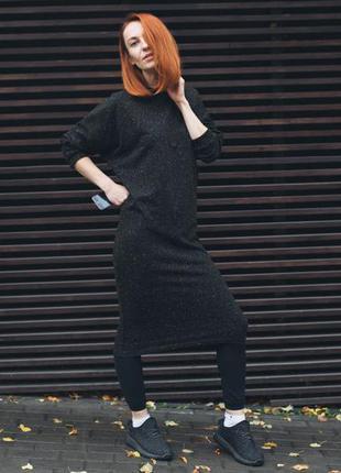 Красивое черное платье миди в крапинку. хлопковый трикотаж. свободное