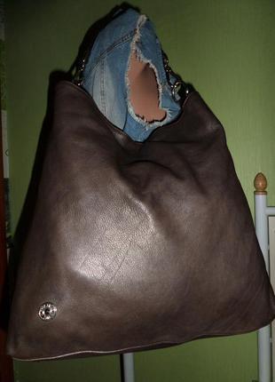 Стильная большая сумка натуральная кожа италия4 фото