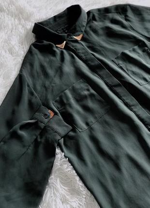 Рубашка хаки topshop с железным воротником