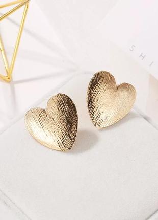 Качественные серьги под золото массивные сережки сердечка золотистые ретро винтаж кульчики