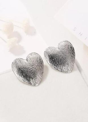 Качественные серебристые серьги пусеты сердце сережки ретро винтаж кульчики