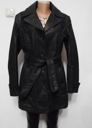Кожаный плащ тренч пальто утепленное из натуральной кожи