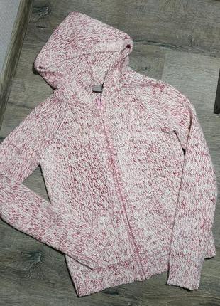 Теплющая кофта-реглан с капюшоном розово-белая на змейке