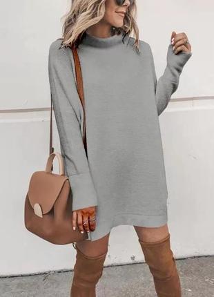 Платье - туника, женское, модное, свободное, oversize, теплое,🍁повседневное, до 48р💗серое