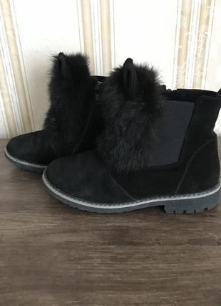 Кожаные ботинки  натуральная замша зимние