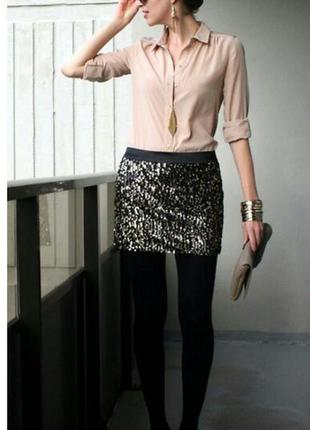 Очень красивая блестящая,серебристая  мини -юбка, asos