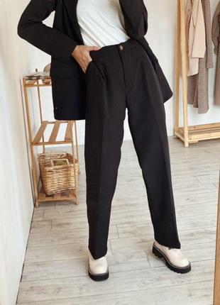 Стильные широкие класические штаны | свободные брюки с защипами