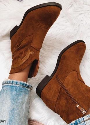 Казаки коричневого цвета ботинки