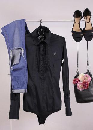 Чорна рубашка боді  від крутої фірми gues