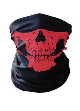 Бафф маска с рисунком черепа (челюсть), унисекс красный