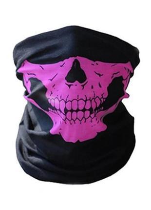 Бафф маска с рисунком черепа (челюсть), унисекс розовый