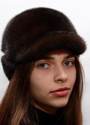 Женская норковая кепи с отворотом