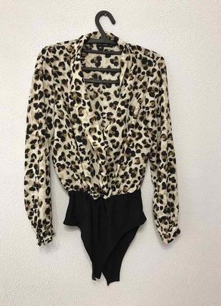 Шикарное боди блузка принт леопард