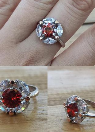 Кольцо перстень серебро 925 рубин гранат золото 375 фианит