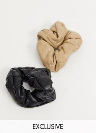 Набір 2 резинки обємні стьобані під шкіру тренд кемел чорний резинка для волос