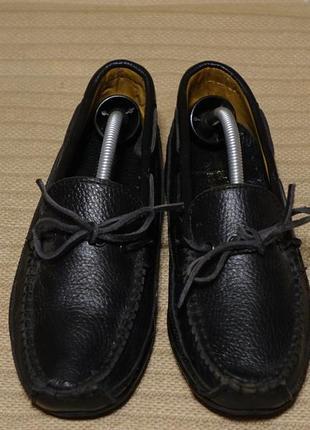 Благородные черные кожаные мокасины samuel windsor  handmade германия 39 р.( 25.5 см.)