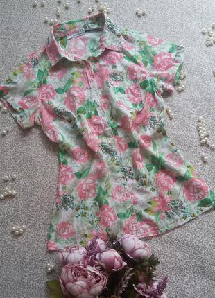 Цветная рубашка с коротким рукавом stradivarius