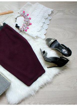 Очень крутая миди юбка цвета марсала!