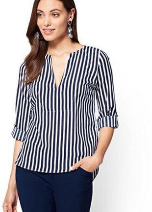 Удлиненная полосатая блузка / рубашка
