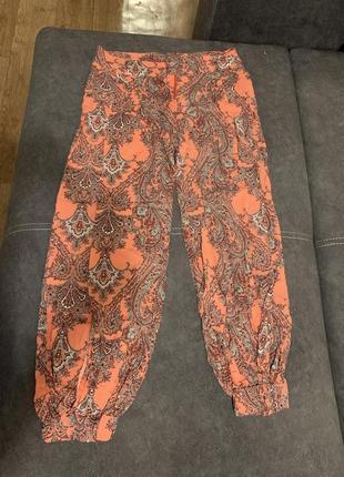 Летние розовые штаны хиппи на резинках