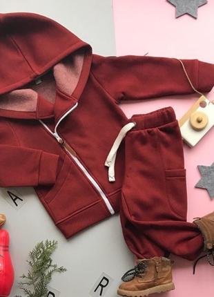 Супер стильный костюм на флисе, кофта-косуха и спортивные штанишки1 фото