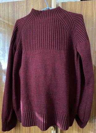Костюм вязаный бордовый юбка плиссе
